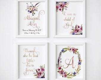 Baby Stats, Baby Girl Wall Art, I Am A Child Of God, Girl Nursery Wall Art, Though She Be But Little, Rose Gold, Nursery Decor, Set of 4,