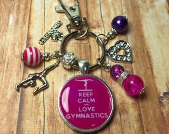 Gymnastics keyring, gymnastics keychain, Gift for gymnast, gymnastics gift, keep calm and love gymnastics