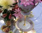 Vintage Rose Beauty, German Creamer, Tiered Tray, 3 Tier Cupcake Stand, Victorian Party, Pink Roses, Brunch, Cupcake Tower, Gold Gilt, Tea