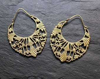 Brass hoops Earrings, boho earrings, indian earrings, gypsy earrings, ethnic jewelry