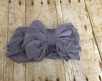 Ruffle Headband- Gray Ruffle Headband- Gray Headband- Gray  Ruffles- Headband- Large Bow Headband- Gray Ruffle Bow