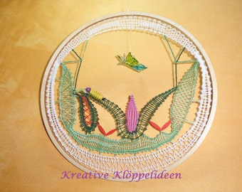 Bobbin lace picture with glass Butterfly
