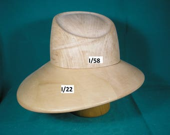 Wooden hat block, form for millinery