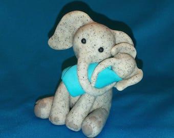 Mother/Son Speckled Gray Elephant-Handmade Polymer Clay- Safari- African Elephant