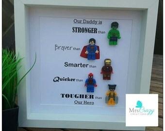 Personalised Marvel superhero lego frame