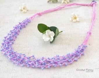 Crochet lilac multi-strand beaded necklace