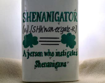 Flask ,St Patricks day, Hip flask, Stainless steel flask, 8 oz., Whiskey Flask, Irish, Chicago flag, Chicago Pride, Irish pride, shennanigan
