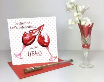 40th Personalised Birthday Card, Red Wine, UB40 - GC023
