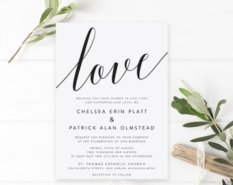Printable Wedding Invitations   Wedding Invite Suite   The Chelsea Collection in Black & White or Custom   Classic   PDF or Printed Invites