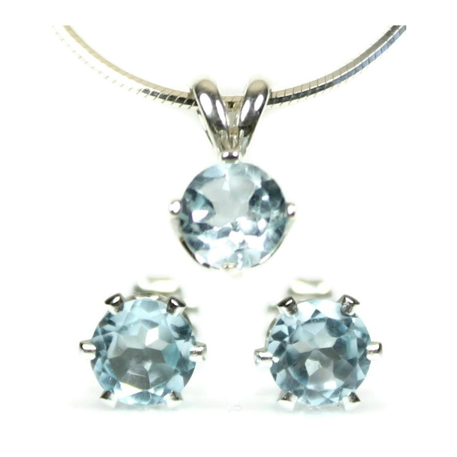 blue topaz jewelry set earrings and necklace sterling silver. Black Bedroom Furniture Sets. Home Design Ideas