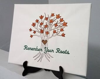 Personalized Canvas With Tree Embroidery