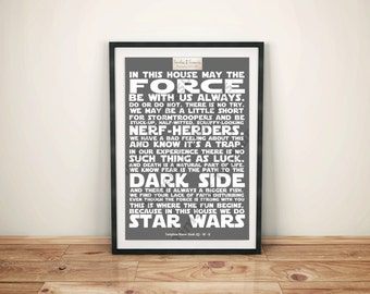 Geek (Q) - In This House   We Do Star Wars (White on Grey Background)