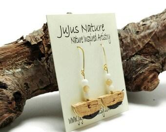 Mother of Pearl Earrings, Made to Order Wine Cork Earrings, Pearl Recycled Cork Jewelry, Fun Cork Gift Idea, Wine Inspired Earrings