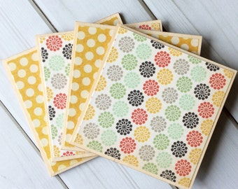 Floral Coasters, Yellow Coasters, Polka Dot Coaster, Wooden Coasters, Colorful Coasters, Wooden Coaster Set, Wood Coaster, Gift for Her