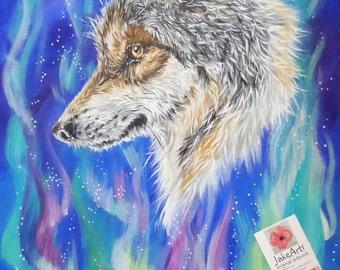 Fantasy wolf original painting, fantasy wildlife art, wolf art, Northern Lights, wolf painting, fantasy painting, home decor, canvas art