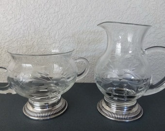 Vintage Sterling Silver & Etched Crystal Glass Sugar Bowl and Creamer