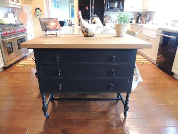 Repurposed Antique Dresser As A Kitchen Island With A: 1920s Vintage Repurposed Kitchen Island
