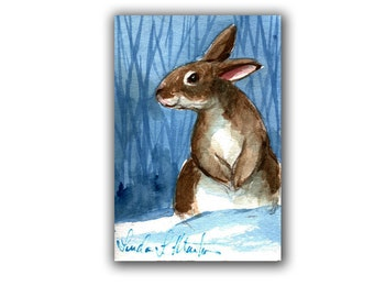 Rabbit Lovers Special! Snow Bunny 2  LLMartin Original ACEO  Watercolor Free Shipping USA