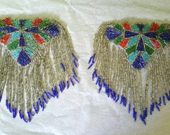 Vintage Iridescent Art Deco Carnival Glass Beads Epaulette Shoulder Patche Cross Applique Fringe Beaded Purple Aqua Green Coral Body Jewelry