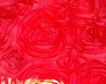"Satin rosette fabric Red. Sold by the yard, 54 "" wide, Free Shipping in USA"