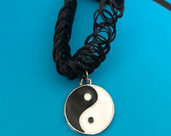 Tattoo choker necklace with yin and yang charm