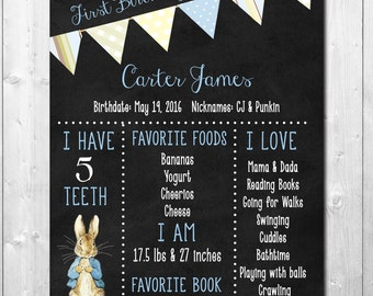 Adorable Peter Rabbit Birthday Chart to match Invite/Frame at party/DIGITAL FILE ONLY/11x14/printable/wording & size can be changed