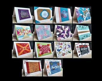 14 Notecards Greeting Handmade Art Cards  #QN45.30.44.43.32.34.33.38.36.31.39.37.35.40