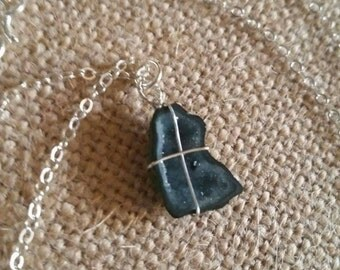 "INCREDIBLE MINI GEODE!!! (black) - Sterling Silver Wire-Wrapped - 18"" Delicate Chain"