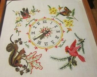 Crewel Four Seasons Clock Vintage 1940's Handmade Shadow Box Clock Squirl Birds Butterfly Home Decor Gift Collectible - HD0308