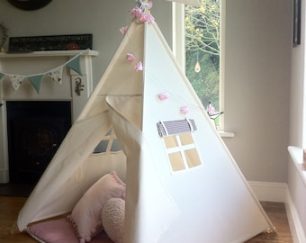 Kids Large Teepee playtent with wooden poles included. Differnent size options available.