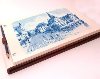 Leather Sketchbook, refillable, vintage, brown