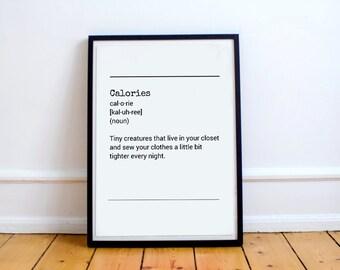 Definition Calories - Definition Calories Diet Exercise Typography Print Home Decor Typography Art Digital Print Black And White Typography