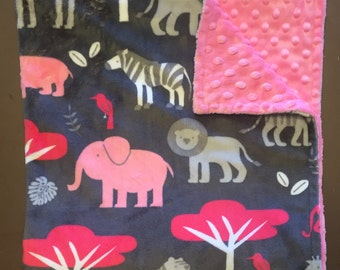 Safari baby blanket, pink elephant baby blanket, giraffe stroller blanket, safari baby gift, pink and gray minky blanket, hippo blanket,