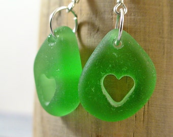 Heart Earrings Green Sea Glass Earrings 925 Sterling SilverSeaglass Jewelry Beach Glass Earrings Beach Wedding