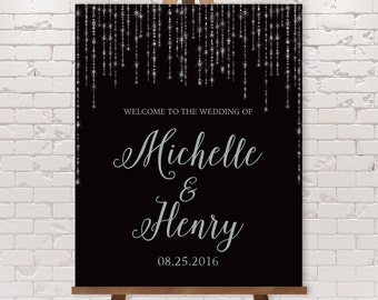 Silver Wedding Welcome Sign / Great Gatsby Inspired Bokeh String Light Sparkle / Black and Silver ▷ Printable File {or} Printed & Shipped