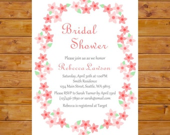 Floral Bridal Shower Invitation - Elegant Bridal Shower Invitation with Flowers - Cherry Blossom Invite - Printable, Custom, Digital File