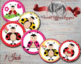 LADYBUG IMAGES  Cute ladybugs for Bottle Cap images  - 1 in circles  - 600dpi, Collage Sheet, cupcake toppers, Gift Tags, BottleCaps