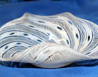 Murano Latticino Venetian Free Form Ribbon and Lace Blown Art Glass Bowl White