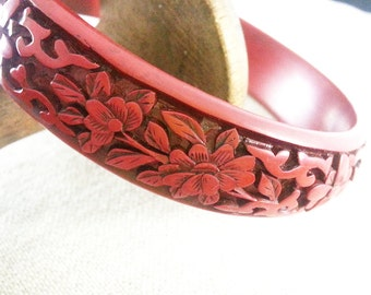 Vintage Cinnabar Carved Lacquer-Style Bangle