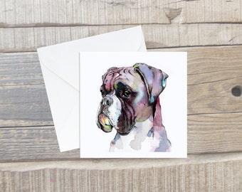 Boxer Dog Greeting Card with Envelope - Boxer Dog Art - Square Card - Dog Lover Card Gift