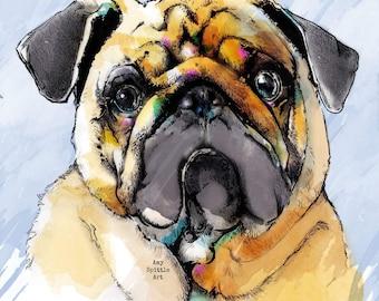 Pug Art Print - Pug Illustration - Pug Lover Gift  - Pug Print -  Pug Decor - Pug Picture - Pug Drawing - Dog Lover Gift - Dog art