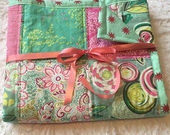 10% off and FREE SHIPPING! Turquoise and Pink Whimsical Quilt