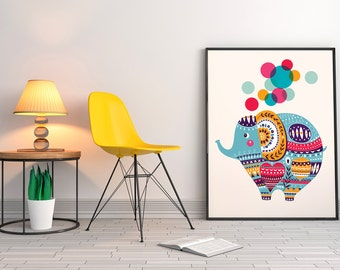 NURSERY PRINTS Cute elephant with decorative ornament. Fine art print.