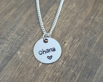 Hand stamped Ohana Necklace - Family Necklace - Ohana love - Adoptive Family - Sisters Necklace - Family Love - Never Forgotten