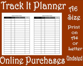Track It Planner Online Purchases A6 TN