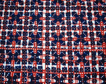 Vintage Red and Blue Hand Printed Fabric from 1970's