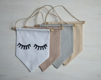 banner wall hanging home decor wall decor living room dorm decor wall pennant eyelashes home wall art linen banner eyes wall flag modern