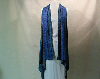 Blue Paisley Duster, Blue Boho Duster, Waterfall Vest, Blue Waterfall Vest, Blue and Purple Waterfall Vest, Waterfall Coverup