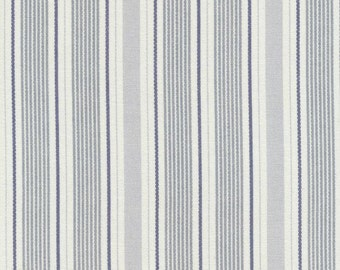 AU MAISON oilcloth Ida Dusty Blue stripe blue coated cotton 1 m