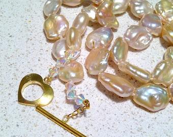 Real pearls. Real pearl necklace. Keshi pearls. Pink Keshi pearls. Strand pearls. Wedding. Lustre. #147
